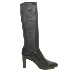Cole Haan Air Black Leather Pointed Toe Tall Boots
